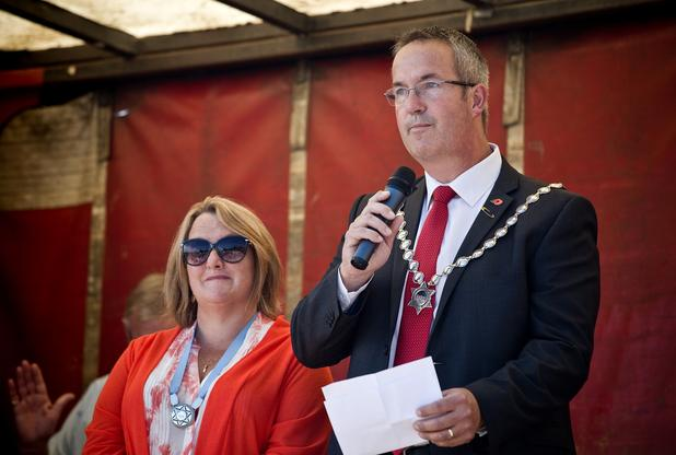 Mayor of Hayle Nick Farrar officially opens the day with his wife Angie